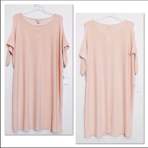 bar III Cold Shoulder Tie Sleeve Peach Nude Dress